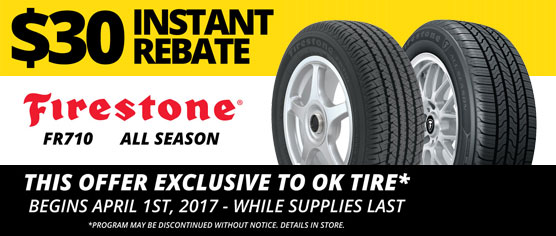 $30 Instant Rebate - Firestone - OK Tire
